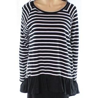 Abound NEW Black White Womens Size XXS Striped Peplum Scoop Neck Sweater 367