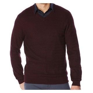 Perry Ellis NEW Purple Mens Size Medium M Pullover V-Neck Knit Sweater