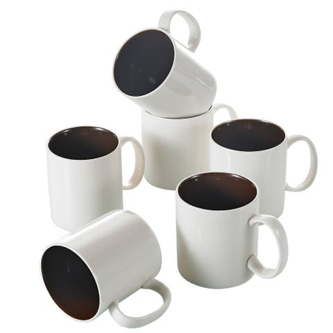 15oz White with Brown Porcelain Coffee Mugs Service for 6