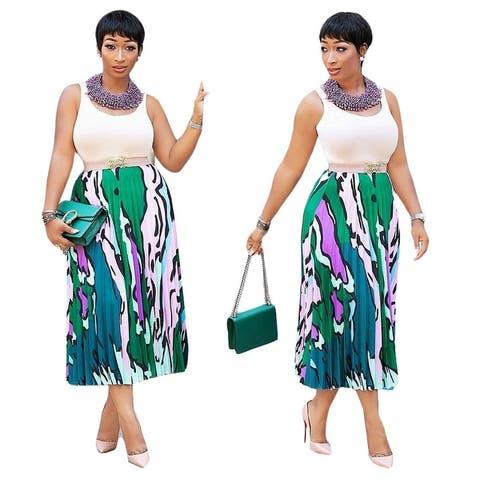 Pleated Skirt Casual Skirt Digital Printing Women's Clothing