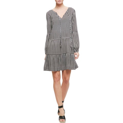 Sanctuary Womens Britt Casual Dress Gingham Tie-Front