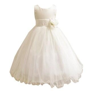 Little Girls Ivory Sash Satin Tulle 3 Layer Tea-Length Flower Girl Dress