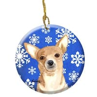 White Snowflake Chihuahua Christmas Ceramic Ornament