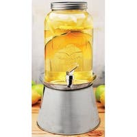 Palais Glassware Clear Mason Jar Beverage Dispenser - Traditional Tin Screw Off Lid 1 Gallon With Stand.