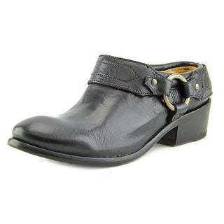 Frye Carson Clog Women Round Toe Leather Black Clogs