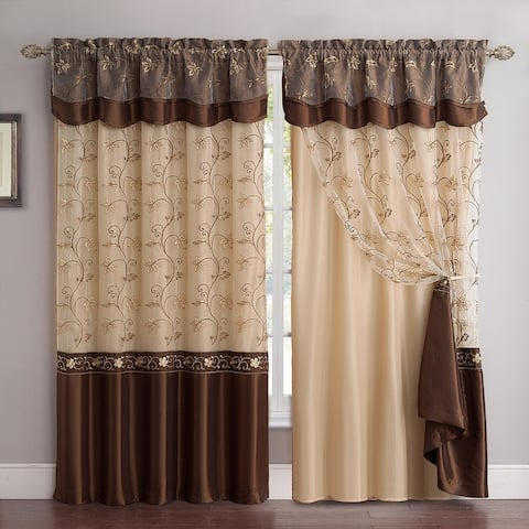 """Andrea Embroidered Rod Pocket Window Curtain Panel with Attached Valance & Faux Silk Backing - 55"""" x 90"""""""