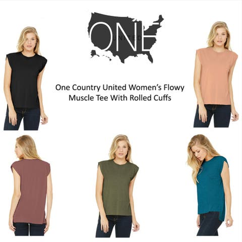 One Country United Women's Flowy Muscle Tee with Rolled Cuffs