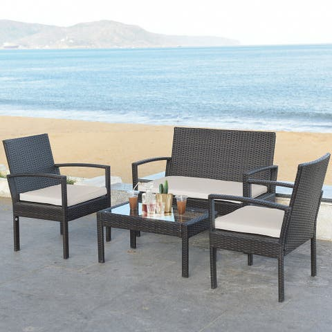 Costway 4-piece Patio Rattan Table & Chair Set With Cushion