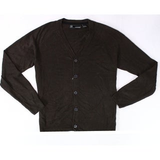 Weatherproof NEW Espresso Brown Men Large L Button Down Cardigan Sweater