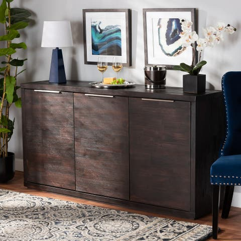 Titus Dark Brown Finished Wood 3-Door Dining Room Sideboard Buffet