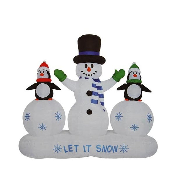 6.5' Inflatable Snowman and Penguins Light Show Christmas Outdoor Decoration - WHITE