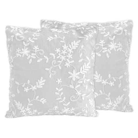 Grey Floral Vintage Lace 18in Decorative Accent Throw Pillows (Set of 2) - Gray Luxurious Elegant Princess Boho Shabby Chic Glam