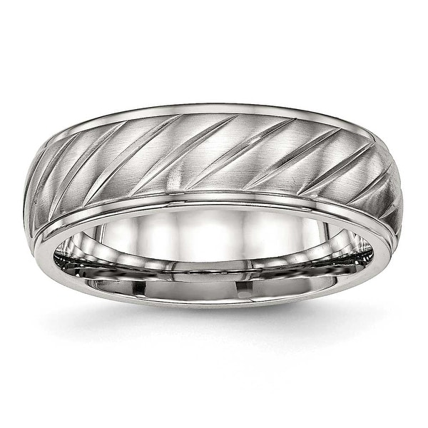 Stainless Steel Brushed and Polished Grooved Ring (7 mm) - Sizes 7 - 13