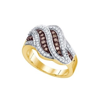 10kt Yellow Gold Womens Round Cognac-brown Colored Diamond Band Fashion Ring 1/2 Cttw - Brown/White