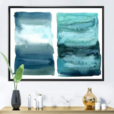 Designart 'Ocean Blue Aquatic Abstract Impression II' Modern Framed Canvas Wall Art Print