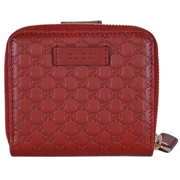 49f0553fc66b Gucci Women's 449395 Red Leather Micro GG Guccissima French Wallet -  4.25