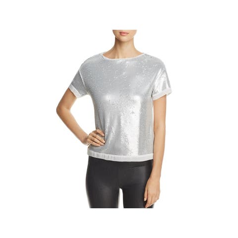 Three Dots Womens Crop Top Sequined Short Sleeves