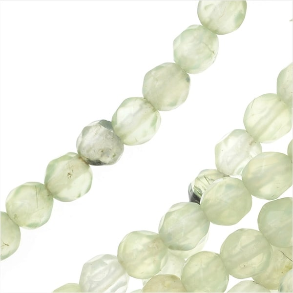 Prehnite Gemstone Beads, Faceted Rounds 4mm, 15.5 Inch Strand, Green