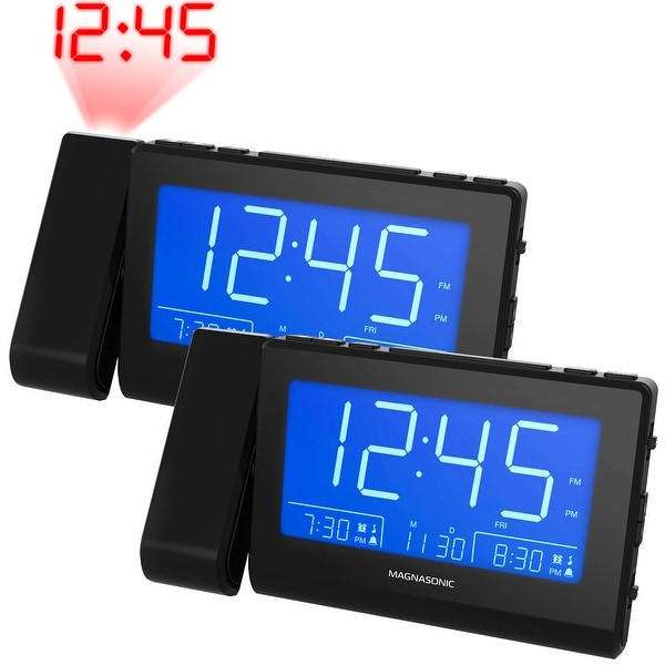 Magnasonic Alarm Clock Radio with USB Charging, Time Projection, Auto Dimming, Dual Gradual Wake Alarm - 2 Pack