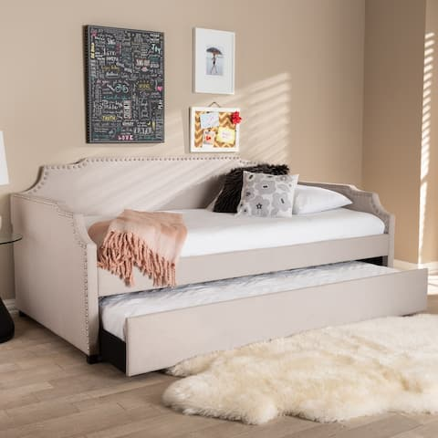 Ally Modern and Contemporary Beige Fabric Upholstered Twin Size Sofa Daybed with Roll Out Trundle Guest Bed