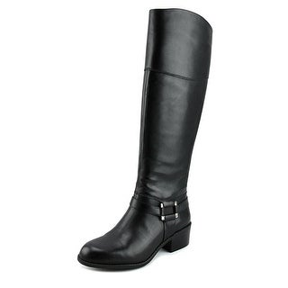 Alfani Biliee Women Round Toe Leather Black Knee High Boot