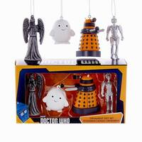 Doctor Who Dalek, Cyberman, Angel, Adipose Miniature Ornament Gift Set