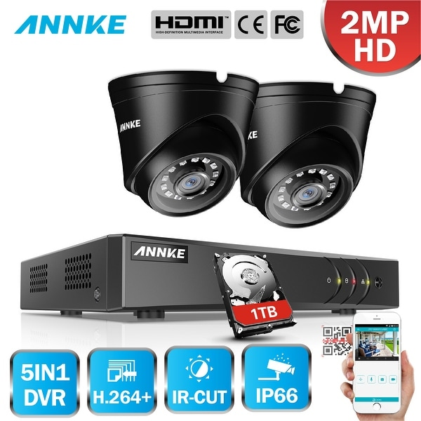 ANNKE 4CH 1080P Lite System 2PCS Dome 1080P Weatherproof Camera Home  Security System Surveillance Kits 1TB Hard Drive Disk