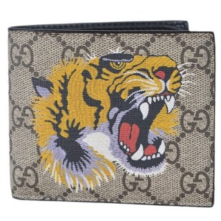 Gucci Men's Beige GG Supreme Canvas Angry Bengal Tiger Bifold Wallet - measures 4.25 x 3.5 inches