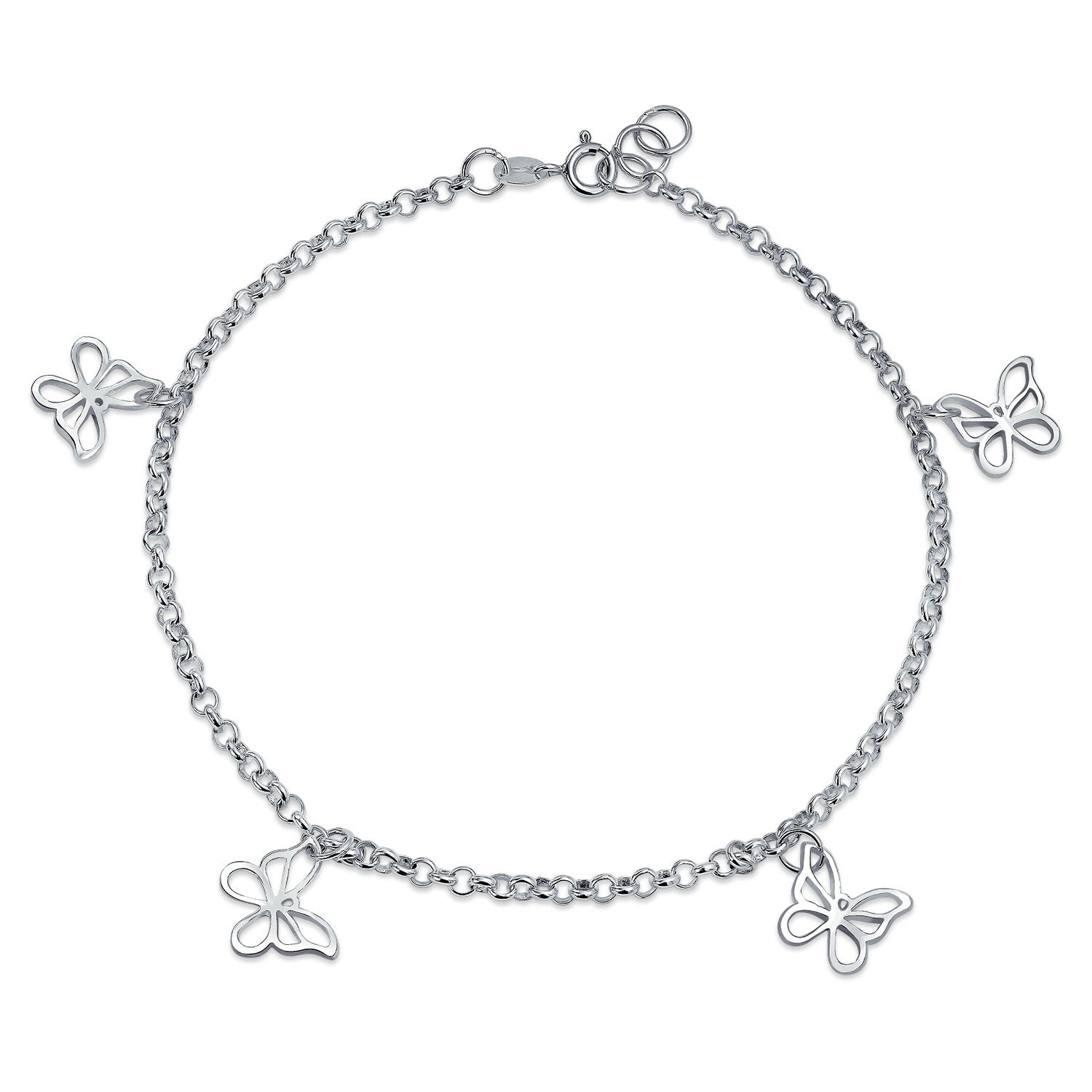 Fine Anklets Jewelry & Watches *sterling Silver 9.5 Inch 8 Dolphins Charms Anklet Bracelet Grade Products According To Quality