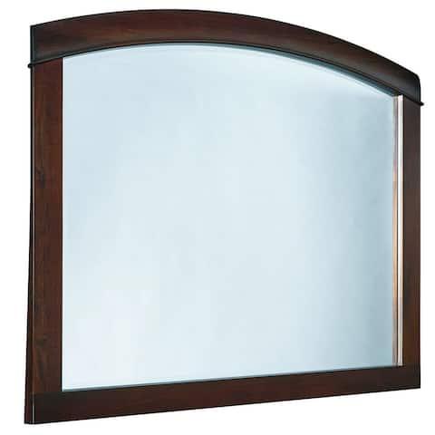 46 Inch Rectangular Arched Wooden Frame Mirror, Brown
