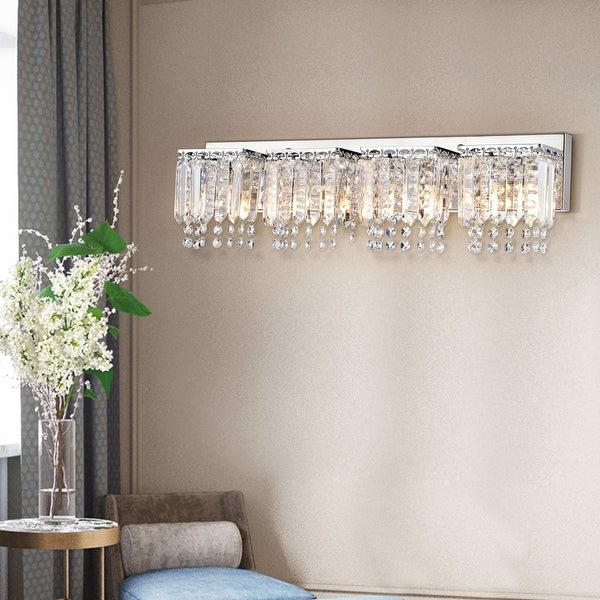 Evelyn 4-light Chrome Finish Crystal Strand Wall Sconce. Opens flyout.