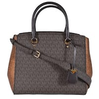 ae82479f58c1 Michael Kors Large Brown Bronze Logo Benning Handbag Satchel W/Strap