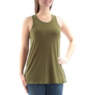 Womens Green Sleeveless Jewel Neck Top Size M
