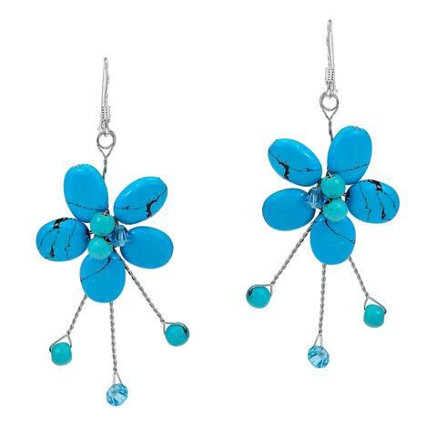Handmade Sterling Silver Turquoise Flower Dangle Earrings (Thailand)