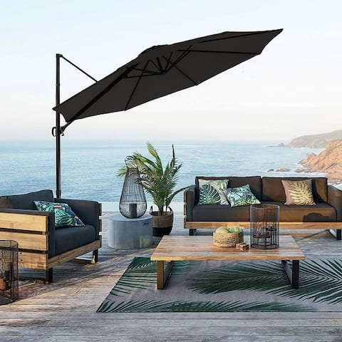 Amarantos 10ft Cantilever Offset Patio Umbrella with Vertical Tilt and 360 Degree Rotation Function