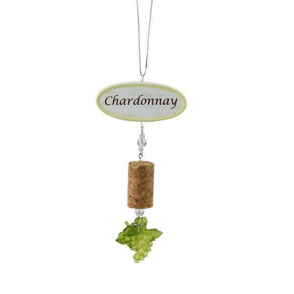 "5.5"" Tuscan Winery Chardonnay Sign with Cork and Grapes Christmas Ornament"
