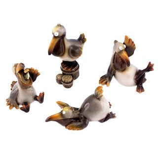 Funny Coastal Pelicans Playing Table or Shelf Figurines Set of 4