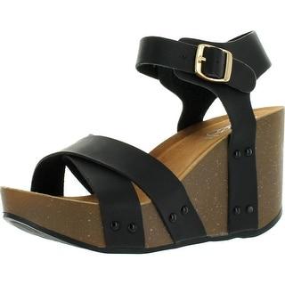 Refresh Mara-05 Womens Ankle Strap Comfort Criss Cross Platform Wedge Sandals
