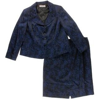 Tahari ASL Womens Plus Jacquard Rhinestone Skirt Suit
