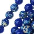 Impression Jasper Gemstone Beads, Round 6mm, 15 Inch Strand, Lapis Blue - Thumbnail 0