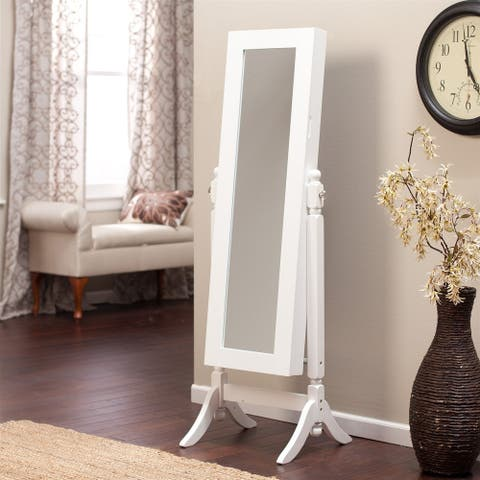 Full Length Tilting Cheval Mirror Jewelry Armoire Cabinet in Gloss White Wood Finish