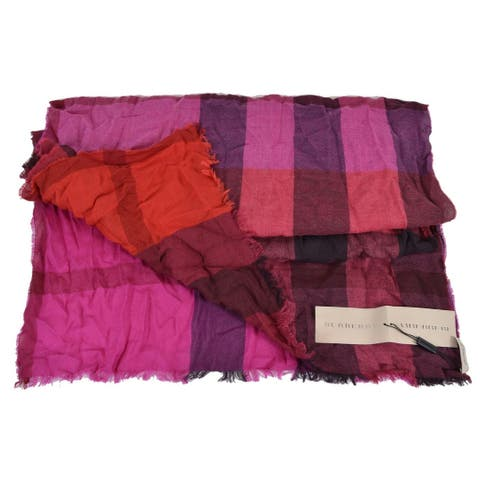 "Burberry XL Flame Red Cashmere Wool Nova Check Shawl Scarf - 90"" x 26"""