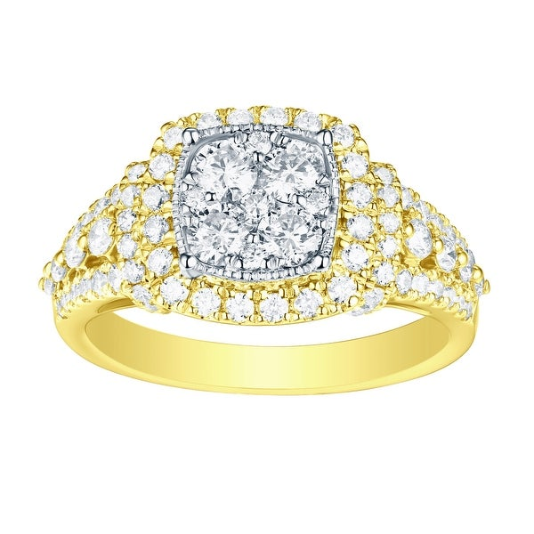 Prism Jewel 1.32 TCW Round Natural G-H/SI1 Diamond Two-Tone Gold Engagement Ring