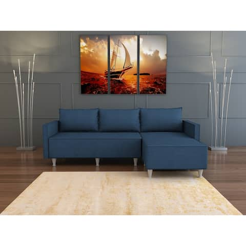 Contemporary Upholstered Sectional Sofa w/ metal frame