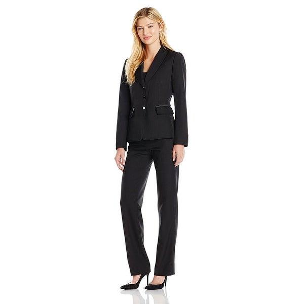 ab1aa3c770 Tahari ASL Pinstripe Zip-Pocket Long Sleeve Jacket Pant Suit Black/White