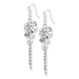 Silvertone Clear Crystal Circle Drop Earrings