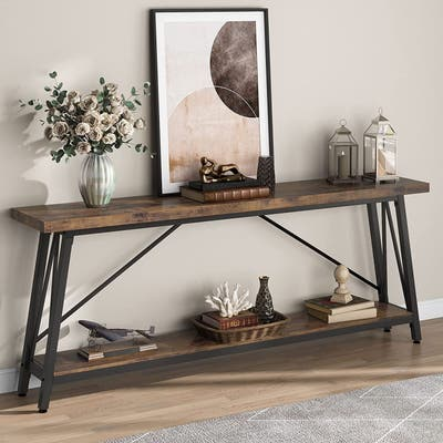 70.9 Inches Entry Console Table, Industrial Long Sofa Table for Hallway, Entryway & Living Room, Brown