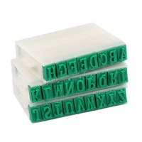 Unique Bargains 1.1cm Wide Plastic Rubber Combination Alphabet Stamp Off White Green