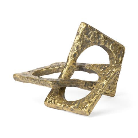 Mercana Delaunay I (Large) hammered metal rustic gold interlinked - 10.1L x 9.0W x 5.1H
