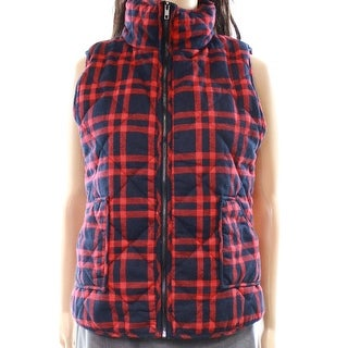 Staccato Red Women's Size Medium M Plaid Mock-Neck Vest Jacket